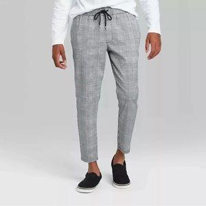 Original Use Taper Plaid Jogger Pants, Black&White